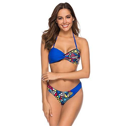 Traje de baño de Ropa de Playa para Mujer Mujer de Cintura Alta Bikinis Tie Knot Corte de Tiras de Tiras de 2 Piezas Traje de baño de Traje de baño Traje de baño (Color : Blue, Size : M)
