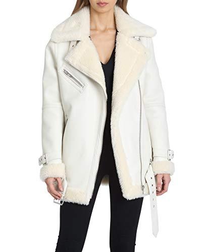 Avec Les Filles Women's Oversized Asymmetrical Zip Faux Leather Biker Jacket, Off/White, Medium