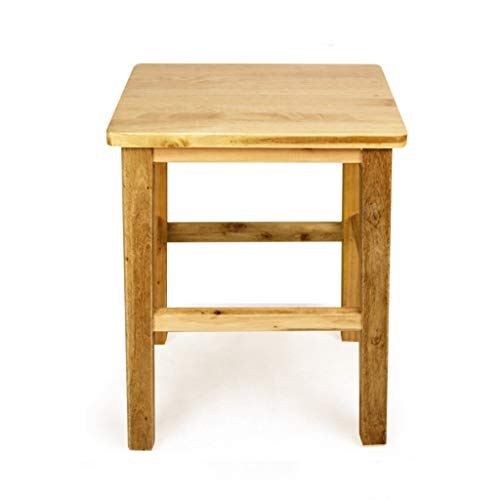 JHSLXD Solid Wood Stool Home Square Shoe Changing Stool Low Stool Small Makeup Stool Low Stool Children's Stool Furniture 322545CM,Wood Color