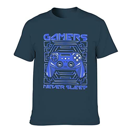 Herren Spieler schlafen nie Joystick Cotton T-Shirts Gemütlich Kurzarm Tee Navy XL