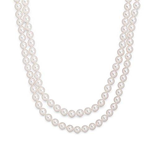 Valero Pearls Damen-Perlenhalskette weiß Akoya Zuchtperlen-echte Akoya-Perlenkette Akoya Zuchtperlen weiß Perlenform rund Endlos-Kette Halskette ohne Verschluss