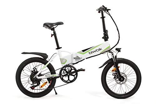 BIWBIK Bici ELETTRICA Pieghevole MOD. Traveller (Bianco Batteria 12Ah)