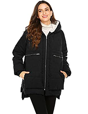 Beyove Womens Ladies Quilted Winter Coat Zipped Hooded Down Jacket Parka Outerwear (Black,XXL)