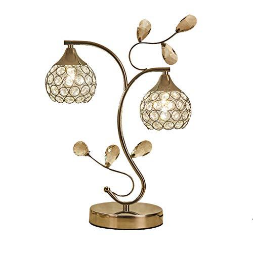 Bureaulamp, tafellamp, van kristalglas, dubbele kop, nachttafellampje, hol, creatief fineer voor de slaapkamer, 42 x 30 cm