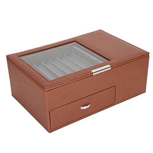 SALUTUYA Caja de colección de bolígrafos Caja de bolígrafos de Cuero de PU Estuche de exhibición de bolígrafos Caja de Almacenamiento de bolígrafos Diseño Transparente Decoración(Brown)