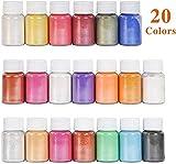 DEWEL 200g Naturale Pigmenti Coloranti, Mica Powder 10g*20 Colori Mica Polvere Colorante Polveri Perlato per DIY,Sapone, Slime,Candele, Acquerello, Cosmetici