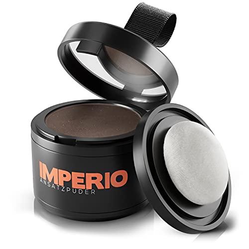 IMPERIO Ansatzpuder - Haar Concealer zur Haarverdichtung für Frauen und Männer, wasserfestes Haar Make-up zum Ansatz kaschieren - 4g (Mittelbraun)