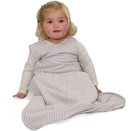 Merino Kids Sac de couchage pour bébés 0-2 ans, rayures Rose clair/gris clair