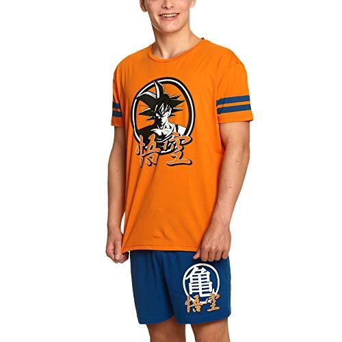 Dragon Ball Z Pyjama 2tlg Goku T-Shirt Shorts Elbenwald Baumwolle orange blau - L