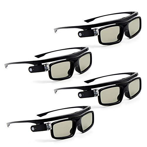 Docooler 3D-Brille 4 Stücke GL1800 Projektor 3D Active Shutterbrille Shutter Wiederaufladbare DLP-Link für alle 3D-DLP-Projektoren Optama Acer BenQ ViewSonic Sharp Dell