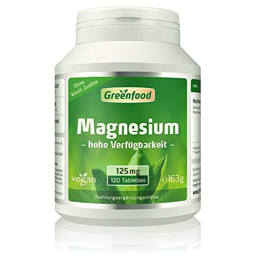 Greenfood Magnesium, 125mg, 120 Tabletten, vegan