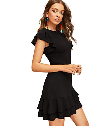 Floerns Women's V Back Inslace Layered Ruffle Hem Flutter Sleeve Dress Black S