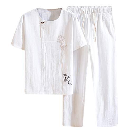 Yowablo Leinenhemd Herren Regular Fit Langarm Hemd Herren Button-down Sommer New Baumwolle und Hanf Kurzarm Langhose Mode Bequemer Anzug (XXL,Weiß)