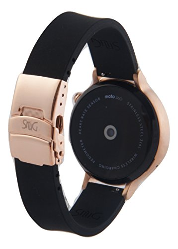 SnuG watchbands Women's Moto 360 16mm Replacement Watch Band for 2nd Gen Moto360 Quick Release with Rose Gold Deployment Buckle (Black with Rose Gold Buckle)