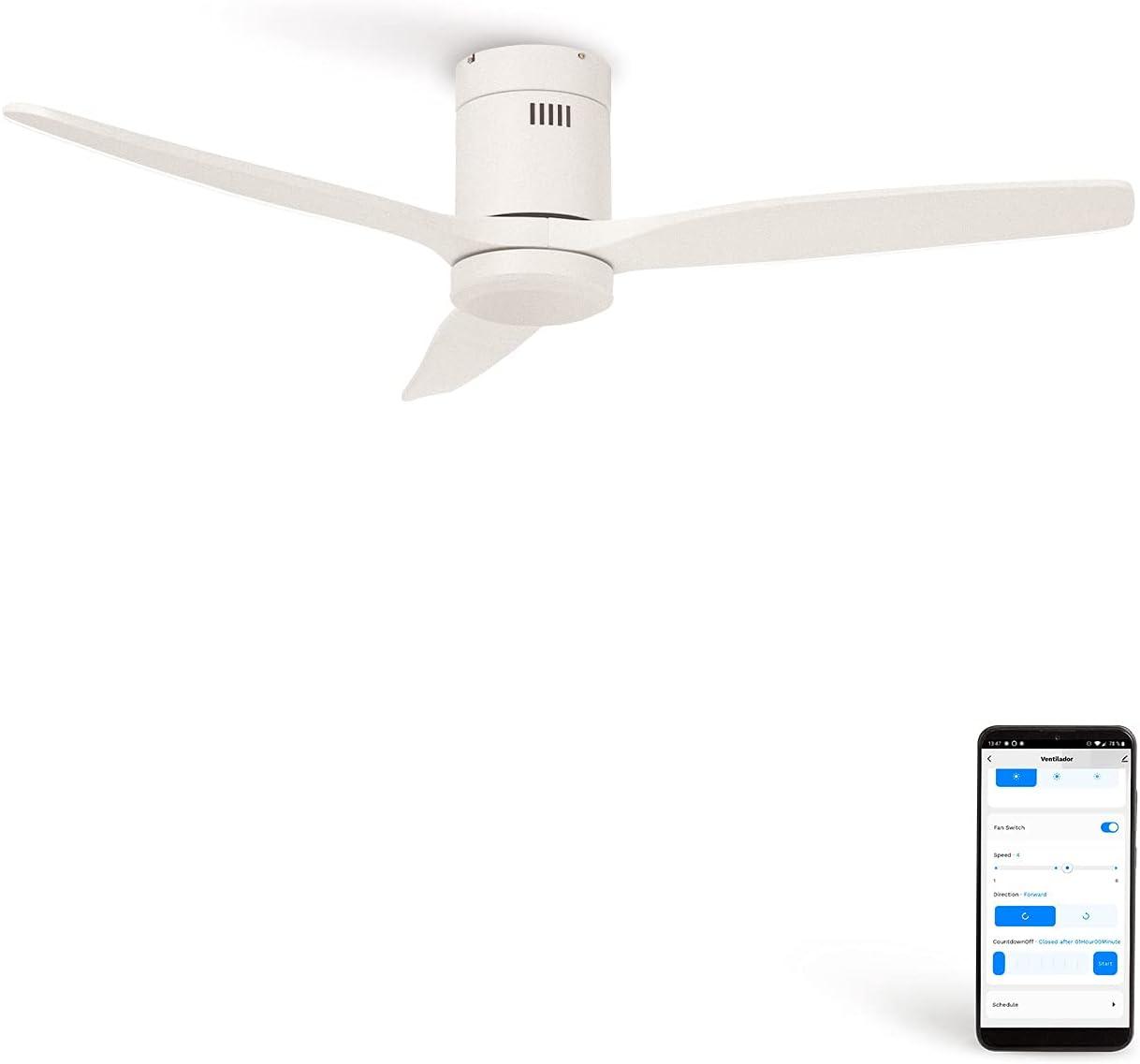 CREATE IKOHS WINDCALM DC STYLANCE - Ventilador de Techo Wifi, con Mando a Distancia, 3 Aspas, Potencia de 40W, Ultrasilencioso, 132 cm de Diametro, 6 Velocidades (Blanco)
