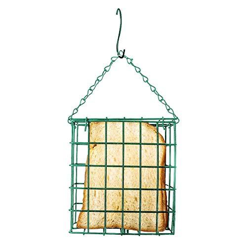 Clevoers Mangeoire pour Les Oiseaux, Verte en Mailles de métal Bloc de Pain carré avec Suspension Facile dans Votre Jardin,Mangeoire de Graisse pour Oiseaux 5.314.961.97in