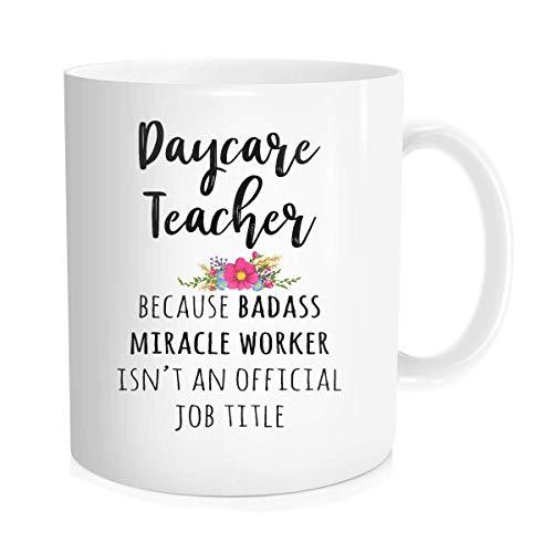 Taza de café divertida con cita inspiradora para hombres y mujeres – Regalos para profesores de guardería – idea de regalo de cerámica blanca fina de hueso de 11 onzas