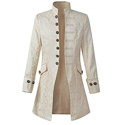 Zolimx Vintage Herren-Mantel Print Langarm Frack Stehkragen Mode Smoking Jacke Gothic Gehrock Uniform Kostüm Praty Trenchcoat Windbreaker Steampunk Graben Outwear