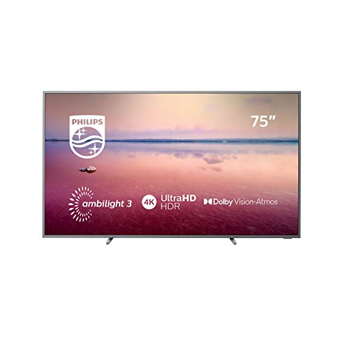 Philips Ambilight 75PUS6754/12 Fernseher 189 cm (75 Zoll) Smart TV (4K UHD, Dolby Vision, Dolby Atmos, HDR 10+, Pixel Precise Ultra HD, Saphi Smart TV) Mittelsilber