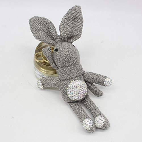 gendies Llavero con Diamantes, Colgante de Bolsa, Peluche de 16 a 18 cm Conejo Gris Oscuro