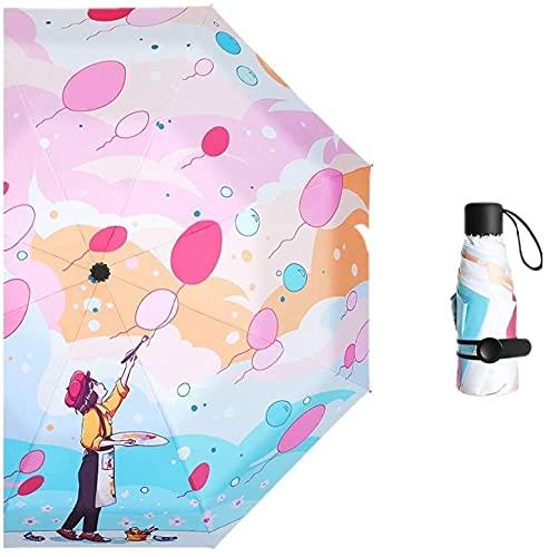 YNHNI Paraguas plegable ultraligero para mujer, protección solar, protección UV, lluvia y sol, pequeño paraguas fresco, portátil (color: Whimsy)