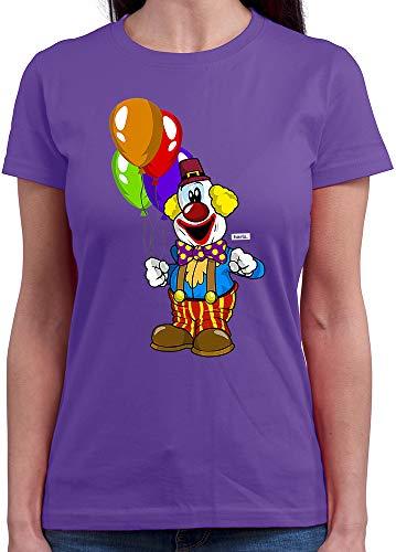 HARIZ Damen T-Shirt Rundhals Clown Luftballons Fröhlich Karneval Kostüm Inkl. Geschenk Karte Lila S