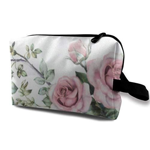 Schminktasche Spring Rose und Blätter Vine Handy Travel Multifunktions-Kosmetiktaschen Customized Holder for Women