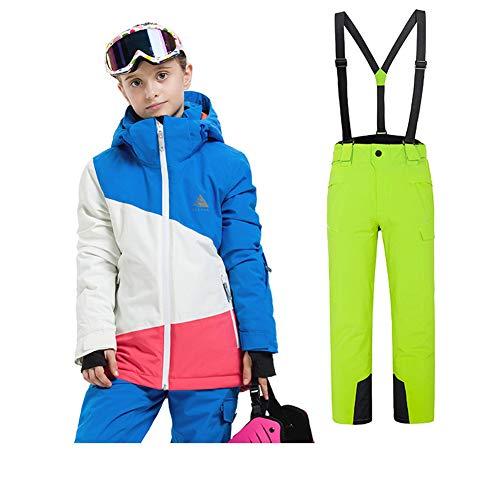 LSERVER Kinder warm und strapazierfähig Skianzug zweiteilig Skijacke + Skihose, Bildfarbe E(Mädchen), 146(Fabrikgröße: 150 cm)