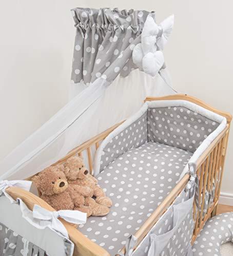 Parure de lit 10 pièces pour bébé, avec tour de lit de sécurité rembourré et auvent - s'adapte au berceau/lit de bébé