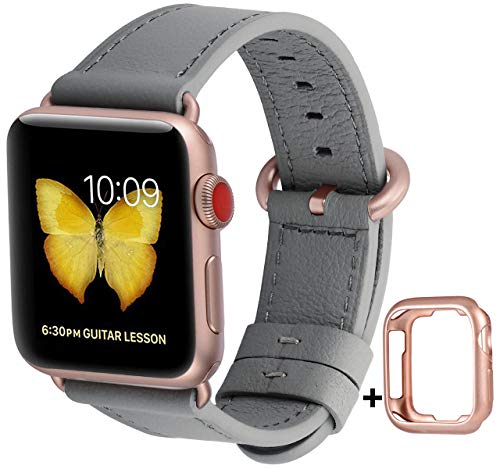 JSGJMY Compatible with Apple Watch Band 38mm 40mm 42mm 44mm Women Men Genuine Leather Replacement Strap for iWatch Series 5 4 3 2 1 (Gray with Series 5/4/3 Rose Gold Clasp, 42mm/44mm S/M)