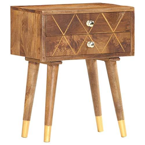 vidaXL Mangoholz Massiv Nachttisch mit 2 Schubladen Nachtkommode Nachtschrank Nachtschränckchen Nachtkonsole Schlafzimmer 43x30x58cm