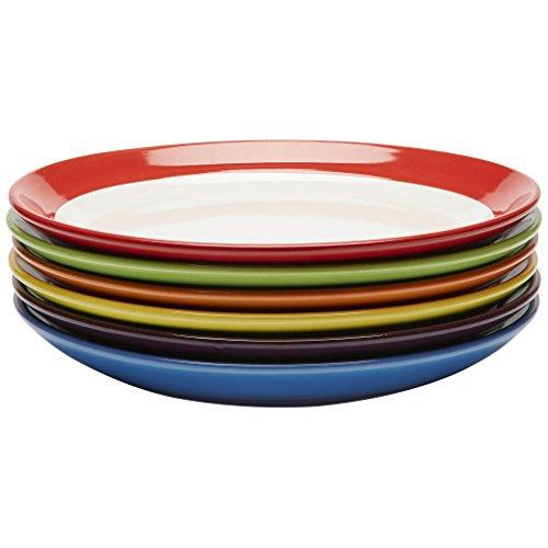 Juego de platos de ceramica de colores - Vajillas de colores - Set de platos - Vajilla platos colores - Set platos llanos 6 piezas - 28cm