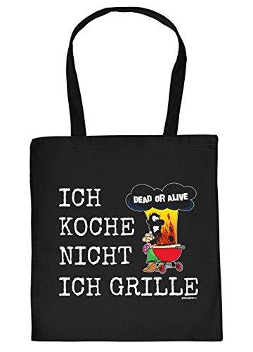 Stofftasche mit Grill Motiv - Ich koche Nicht, ich Grille. Dead or Alive - Einkaufstasche, Geschenk, Grilltasche, Umhngetasche - schwarz