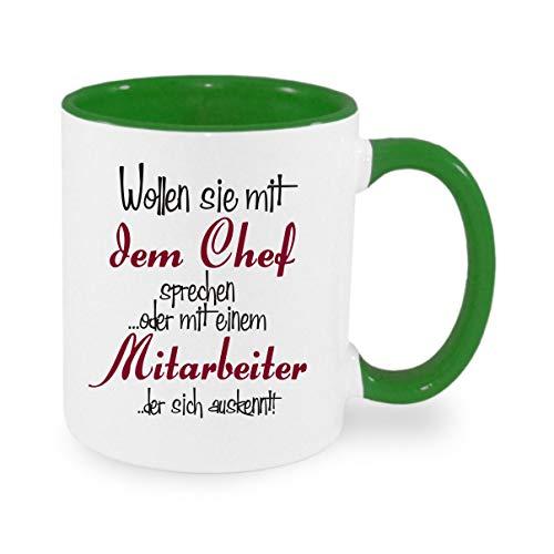crealuxe Wollen Sie mit dem Chef sprechen oder einem Mitarbeiter der Sich auskennt - Kaffeetasse mit Wunschname, Bedruckte Tasse mit Sprüchen oder Bildern, Bürotasse,