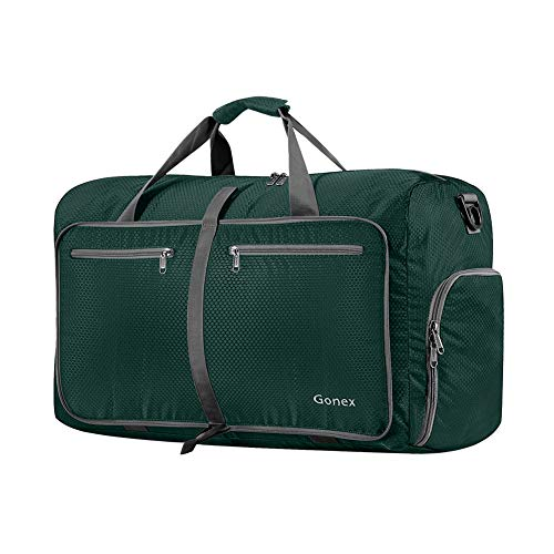 Gonex 40L Packable Travel Duffle Bag for Boarding Airline, Lightweight Foldable Gym Duffle Water Repellent & Tear Resistant Blackish Green