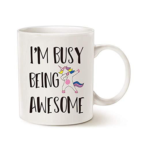 Taza de café con frase divertida y frase en inglés 'Chrisas, I'm Busy Being Awesome Ideas de regalo de cumpleaños para amigo hermano, color blanco de 11 onzas