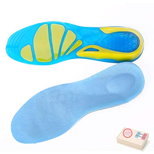 TAKIT Semelles Chaussures Gel - NOUVEAU 2020 - Une Paire - Soulage la douleur - Idéale pour le sport, la marche, la course à pied, la randonnée - 43-46