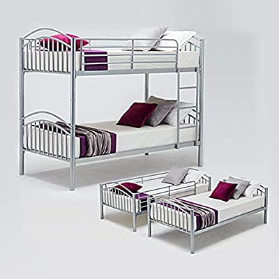 Panana Metal Kids Bunk Bed Twin Sleeper Modern Children 3FT Single Bed Frame Bedroom Furniture