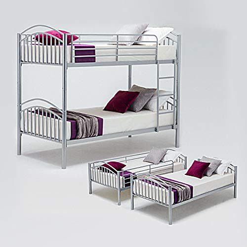 Panana Metal Kids Bunk Bed Twin Sleeper Modern Children 3FT Single Bed Frame Bedroom Furniture (Silver)