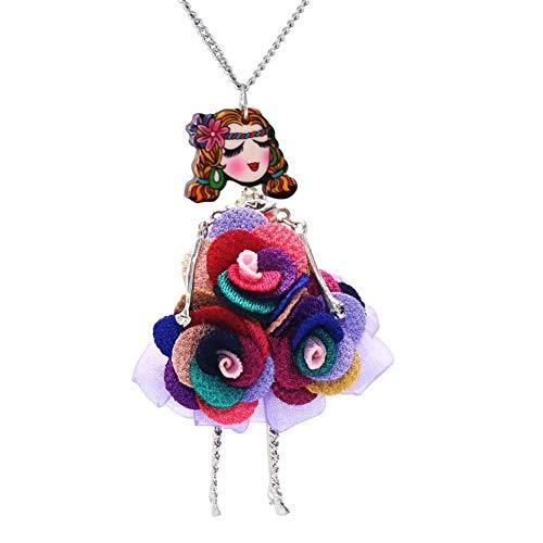 N-K Frauen-Mädchen-Bunte Spitze-Blumen-Puppe-Strickjacke-Ketten-Lange Halsketten-hängende Kleidungs-Zusätze beweglich und nützlichdauerhaft