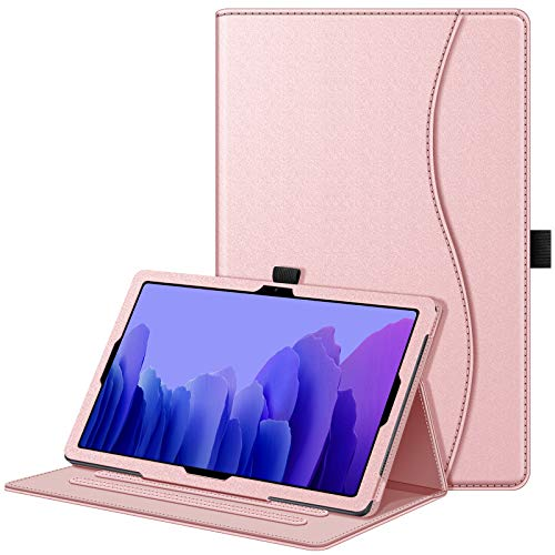 Fintie Case for Samsung Galaxy Tab A7 10.4'' 2020 Model (SM-T500/T505/T507), Multi-Angle Viewing Smart Stand Back Cover with Pocket, Auto Wake/Sleep, Rose Gold