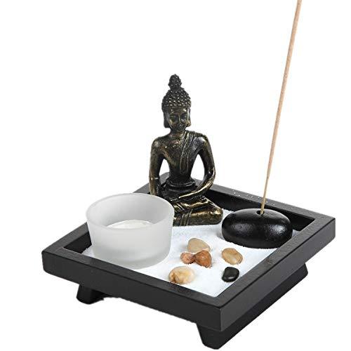 London Boutique Estatua de Buda Sentado tailandés portavelas de Piedra Natural de ratán Incienso Set de Regalo (Sentado Budha HD38)