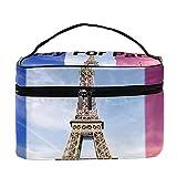Orar por París, Francia, patrón de viaje, bolsa de maquillaje grande, bolsa de maquillaje, organizador con cremallera, para mujeres y niñas