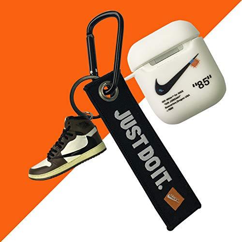 Airpod Case Protector Compatibel met Airpods 1 & 2 Wit, Sneaker Mini Schoen Sleutelhanger Met Doos. Tieners Jongens Meisjes Mode Ontwerper Hard Case 2020 Bruin Blauw Wit Rood Accessoires, 3