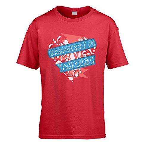 This Way Up Raspberry Pi Aholic Kids T-Shirt [Red Medium]