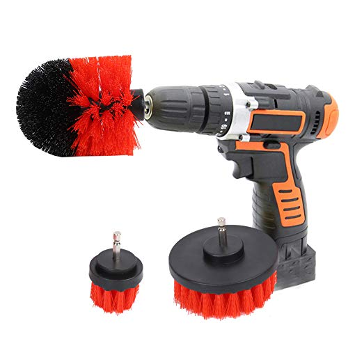 AYNEFY Drill Brush Kit, 3 Pieces Power Scrubber Brush Electric Drill Cleaning Kit for Bathtubs, Sinks, Skirting Boards, Fiberglass Shower Rooms, Shower Door Rails and Porcelain(Red)