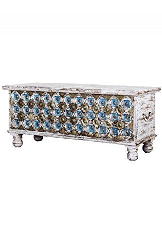 Baúl oriental de madera Burhan – 3 – 116 cm | Banco vintage con almacenamiento para el pasillo | Caja de almacenamiento con tapa en el baño | Baúl de cama como baúl o decoración en el dormitorio