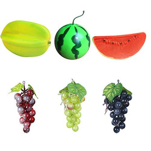 BLUGUL 6 Stück Deko Obst Satz, Realistische Künstliche Früchte, Kunstobst für Dekoration, Carambola, Kleine Wassermelone, Traube