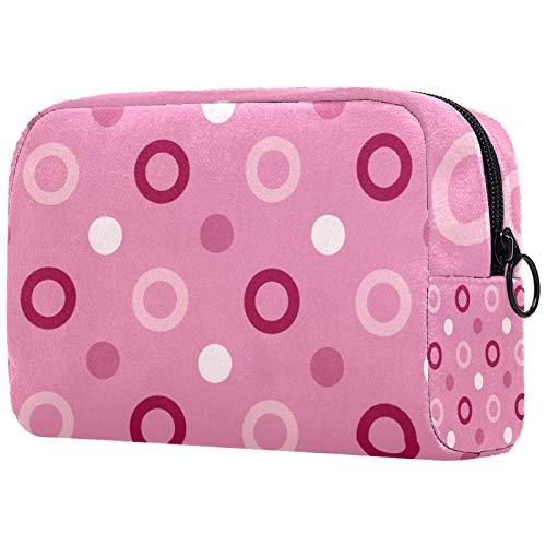ATOMO Bolsa de maquillaje, bolsa de viaje de moda cosmética grande neceser organizador de maquillaje para mujeres, rosa conjunto visionario puntos