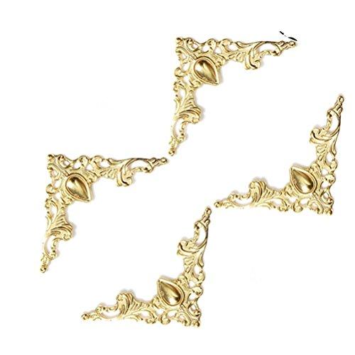 Vorcool Lot de 48 coins pour décorations de boîtes en bois, arrondisseurs et protecteurs d'angles pour livres, albums et décorations en métal, style vintage, jaune